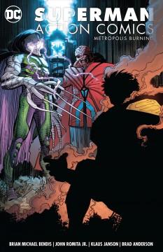 Superman action comics Metropolis burning